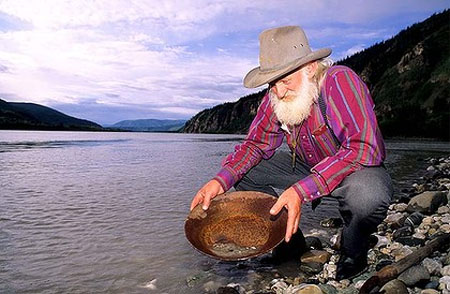 Panning for gold in the Yukon